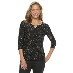 Petite Croft & Barrow® Jacquard Metal Accent Top