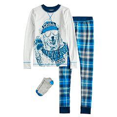 Boys 4-10 Cuddl Duds Bear 2-Piece Pajama Set & Socks