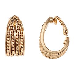 Dana Buchman Textured Huggie Hoop Clip-On Earrings