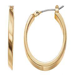 Dana Buchman Gold Tone Elongated Hoop Earrings