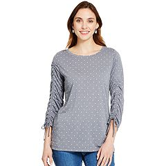 Women's IZOD Dot Ruched-Sleeve Top