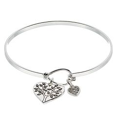 Brilliance Heart Tree Charm Bangle Bracelet with Swarovski Crystals