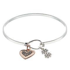 Brilliance Heart & Flower Charm Bangle Bracelet with Swarovski Crystals