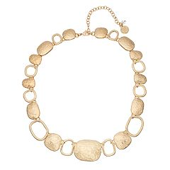 Gold Tone Hammered Disc Detail Collar Statement Necklace