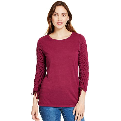 Women's IZOD Ruched-Sleeve Top