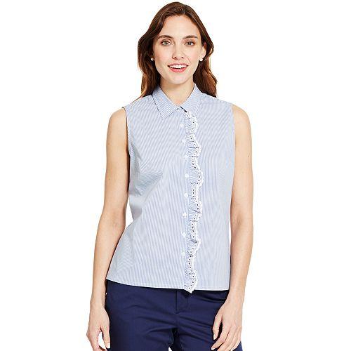 Womens IZOD Eyelet Ruffle Sleeveless Shirt