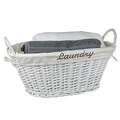 Home Basics Lined Natural Wicker Hamper