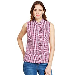 Women's IZOD Checked Ruffle-Trim Shirt