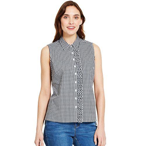 Women's IZOD Checked Ruffle-Trim Shirt