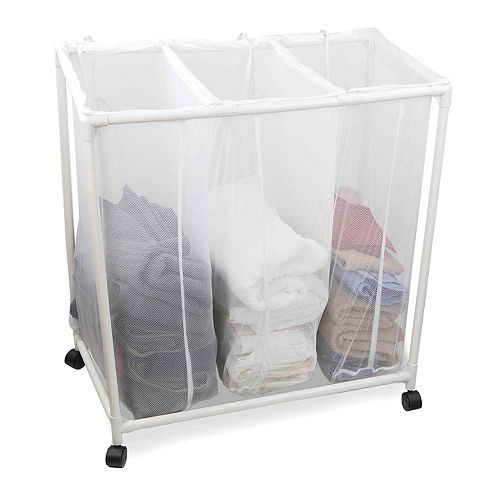 Home Basics Mesh Wheeled Triple Laundry Sorter