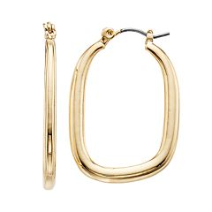 Gold Tone Organic Hoop Earrings
