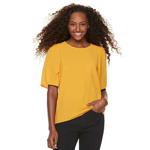 Juniors' Grayson Threads Shirred Woven Top