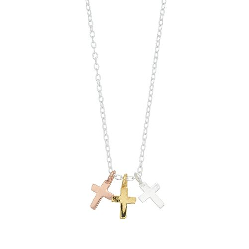 love this life Tri Tone Triple Cross Pendant Necklace
