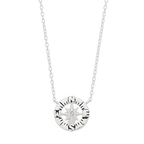 love this life Sterling Silver Crystal Compass Necklace