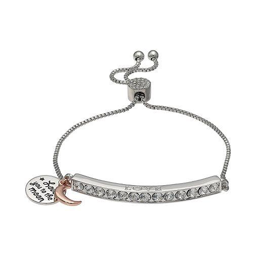 "Brilliance Silver Plated Swarovski Crystal Bar ""Love"" Charm Bracelet"