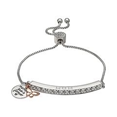 Brilliance Silver Plated Swarovski Crystal Bar 'Mom' Charm Bracelet