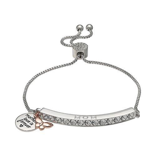 "Brilliance Silver Plated Swarovski Crystal Bar ""Mom"" Charm Bracelet"