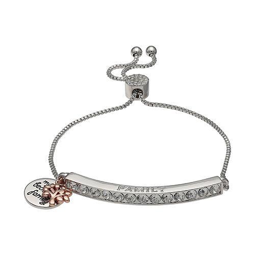 "Brilliance Silver Plated Swarovski Crystal Bar ""Family"" Charm Bracelet"