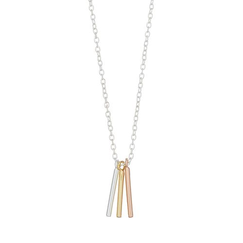 love this life Tri Tone Triple Bar Pendant Necklace