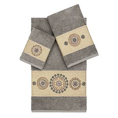 Linum Home Textiles 3-piece Turkish Cotton Isabelle Embellished Towel Set