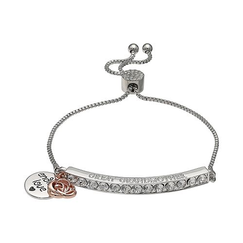 "Brilliance Silver Plated Swarovski Crystal Bar ""Great Grandmother"" Charm Bracelet"