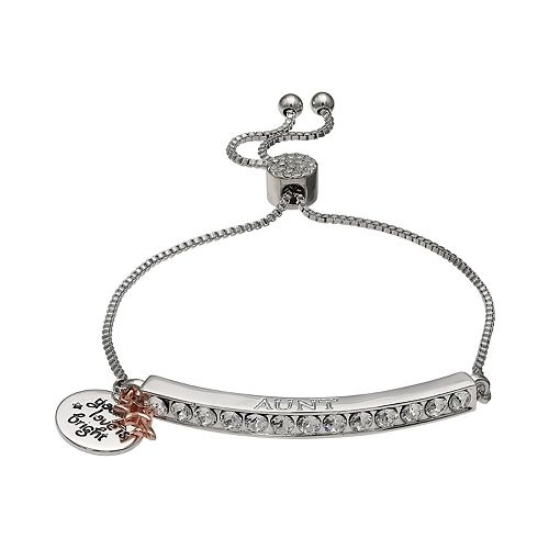 "Brilliance Silver Plated Swarovski Crystal Bar ""Aunt"" Charm Bracelet"