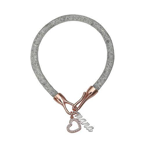 "Brilliance Silver Tone ""Nana"" Mesh Bracelet"