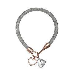 Brilliance Silver Tone 'Love' Charm Mesh Bracelet