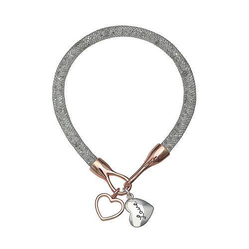 "Brilliance Silver Tone ""Love"" Charm Mesh Bracelet"
