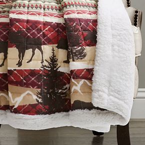 Lush Decor Holiday Lodge Sherpa Fleece Throw