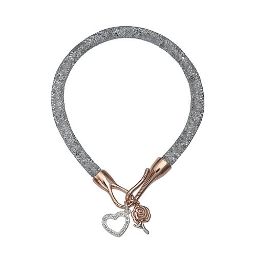 Brilliance Silver Tone Rose Charm Mesh Bracelet