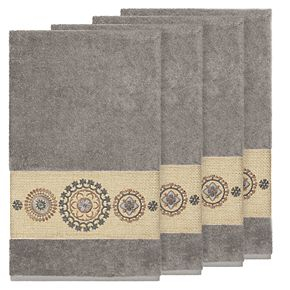 Linum Home Textiles Turkish Cotton Isabelle Embellished Bath Towel Set