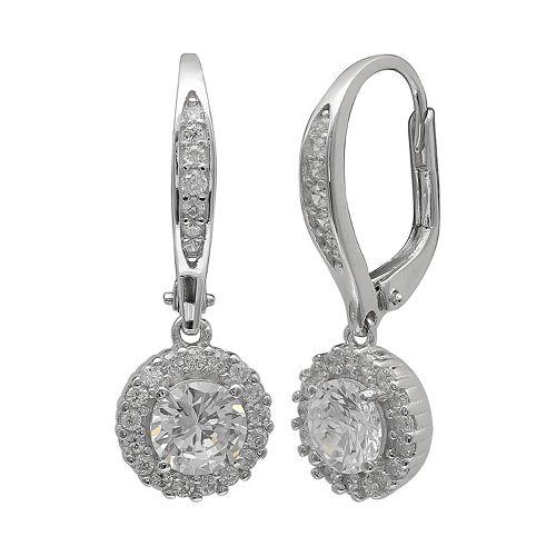 PRIMROSE Sterling Silver Cubic Zirconia Round Drop Earrings