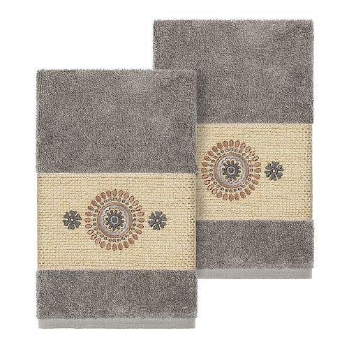 Linum Home Textiles Turkish Cotton Isabelle Embellished Hand Towel Set