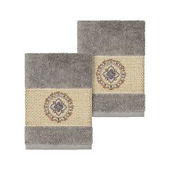 Linum Home Textiles Turkish Cotton Isabelle Embellished Washcloth Set