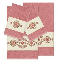 Linum Home Textiles 4-piece Turkish Cotton Isabelle Embellished Towel Set