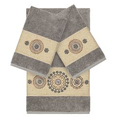 Linum Home Textiles 3-piece Turkish Cotton Isabelle Embellished Towel Set