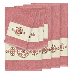 Linum Home Textiles 8-piece Turkish Cotton Isabelle Embellished Towel Set