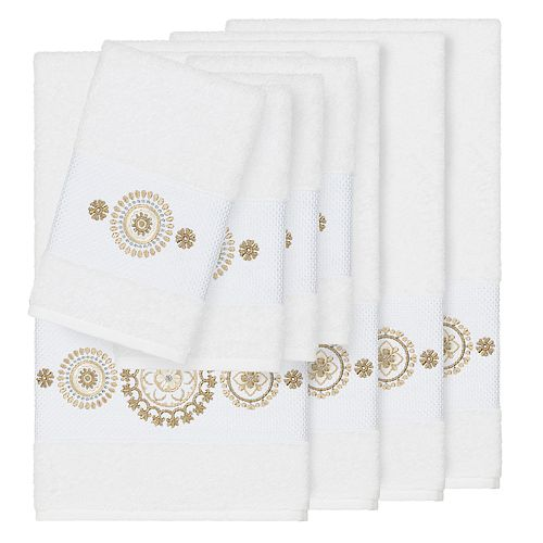 Linum Home Textiles 8-piece Turkish Cotton Isabelle Embellished Towel Set