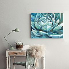 New View Cerulean Succulent Canvas Wall Art