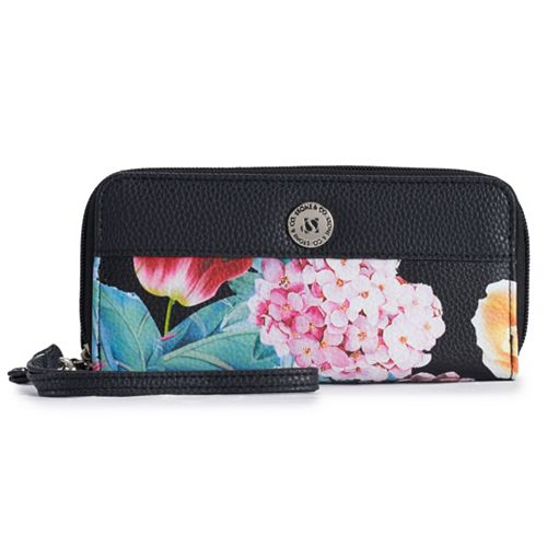 Stone & Co. Floral Pebbled Leather Double Zip Around Wallet
