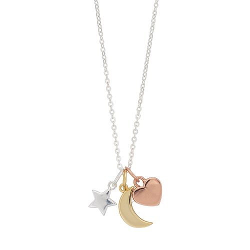 love this lifeTri Tone Star, Moon & Heart Necklace