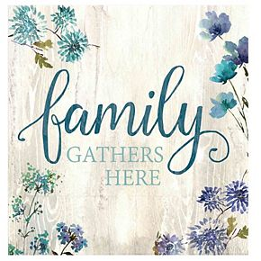 """New View """"Family Gathers Here"""" Canvas Wall Art"""
