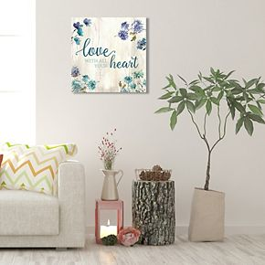 """New View """"Love"""" Floral Canvas Wall Art"""