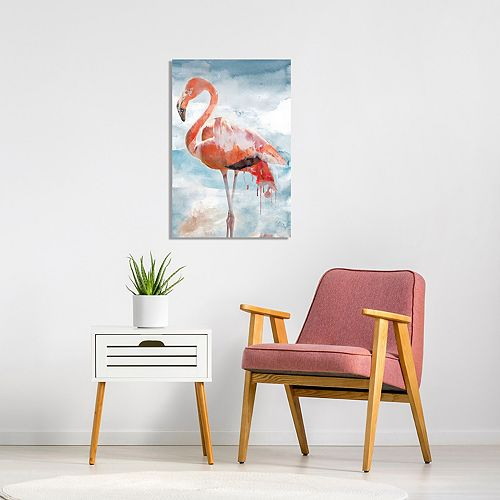 New View Flamingo Portrait II Canvas Wall Art