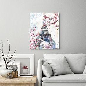 New View Cherry Blossom Paris I Eiffel Tower Canvas Wall Art