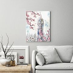 New View Cherry Blossom London I Big Ben Canvas Wall Art