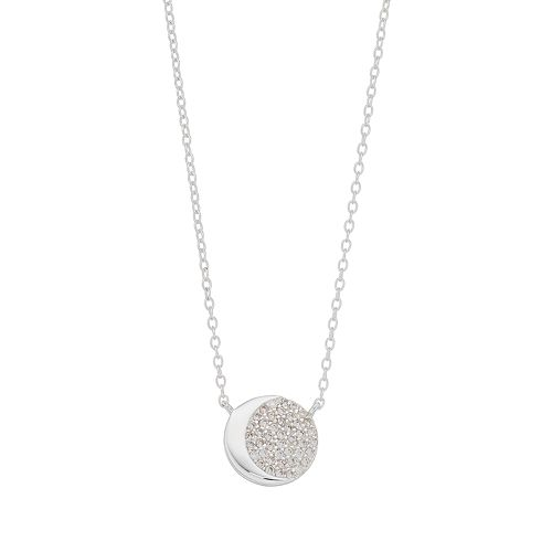 love this life Sterling Silver Cubic Zirconia Moon Necklace