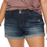 Juniors' Plus Size SO® Frayed Cuff Midi Jean Shorts