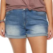 Juniors' Plus Size SO® Frayed Cuff Midi Jean Shorts